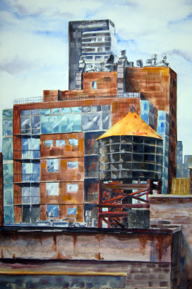 NYC Rooftops - watercolor