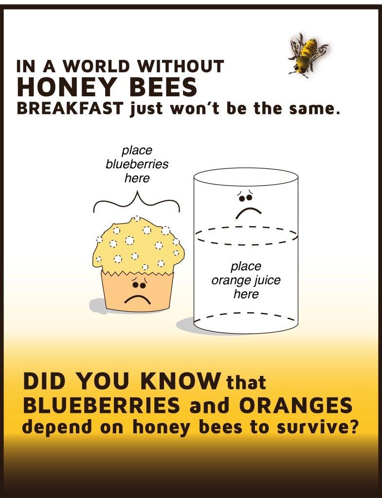 Poster created to raise awareness of the Honey Bee Crisis. By Sue Buenger
