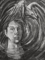 Raven's Whirlwind (self portrait) by Sue Buenger 18x24