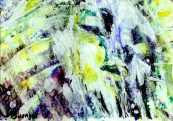 Bitter Frost - Mixed media painting by Sue Buenger 5x7