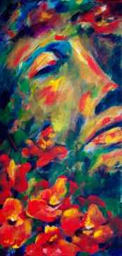 Poppies - Acrylic painting by Sue Buenger 12x24