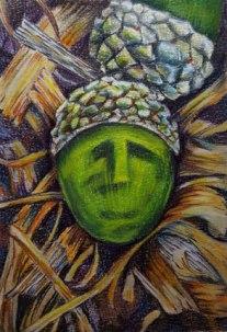 Green Acorn - Colored pencil+watercolor by Sue Buenger 5x7